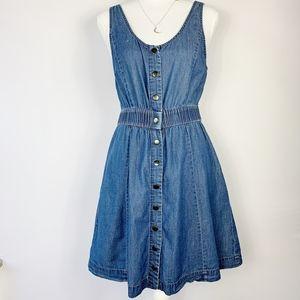 Forever 21 Button Front Sleeveless Denim Dress L
